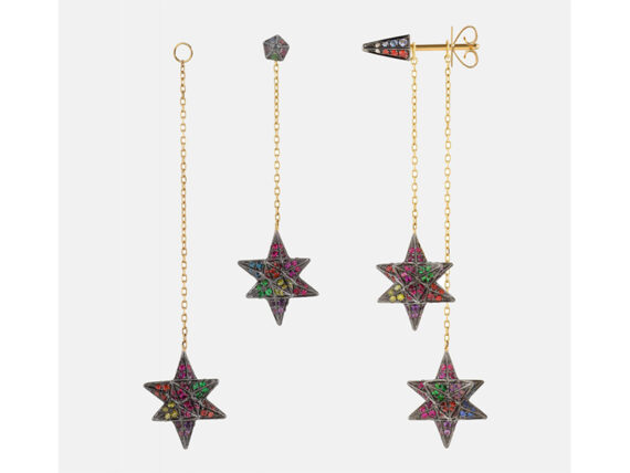 Noor Fares Double Merkaba Dress Earrings - Rainbow Collection
