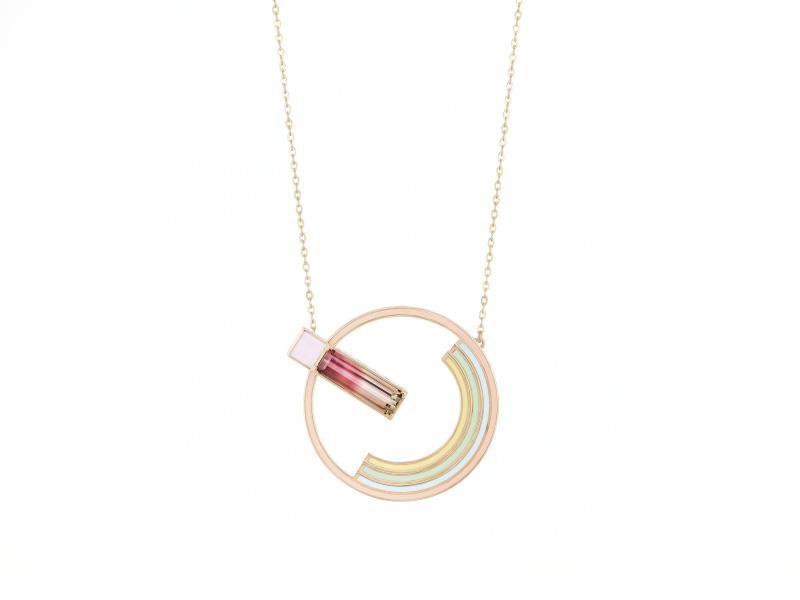 Nuun Necklace mounted on rose gold with watermelon tourmaline