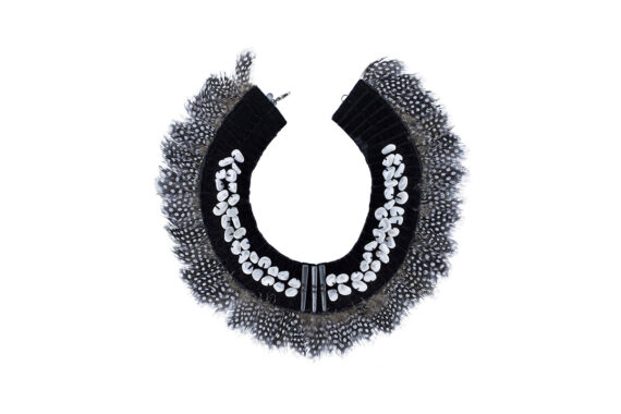 Parme Marin Feathery necklace with velvet, stones, mother of pearl buttons and feathers