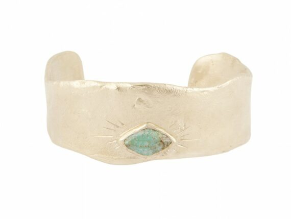 Pascale Monvoisin Thelma M Tursquoise bracelet mounted on golden metal and fine gold plated with incrusted turquoise