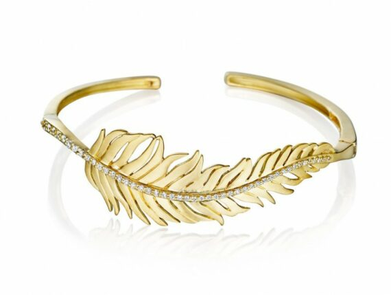 Penny Preville Diamond center feather bangle mounted on green gold with diamond ~ USD$ 4'875
