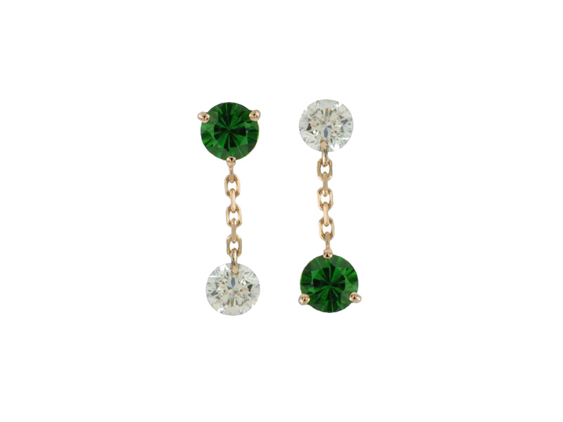 Raphaele Canot - Set free tsavorite and diamond drops on yellow gold