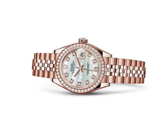 Lady-datejust 28 - Oyster, 28mm, Everose gold and diamonds