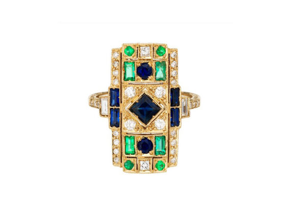 Sabine G Harlequin sapphire rectangle ring mounted on yellow gold with blue sapphire emerald and white diamonds ~ USD$ 8'380