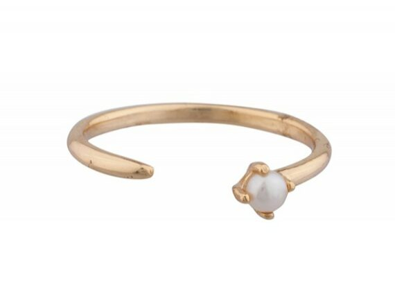 Shashi Alana ring mounted on gold plated sterling silver with a pearl ~ USD$ 36