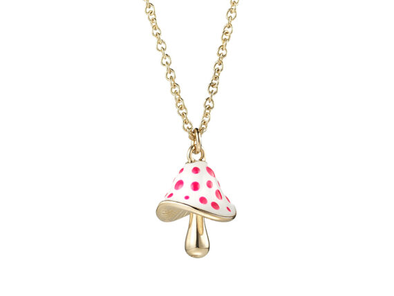 Shawish Magic mushroom mounted on yellow gold with white enamel and pink dot set with 1 diamond