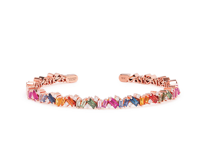Suzanne Kalan - Rose Gold Rainbow Frenzy Bangle. Sapphire Baguettes. Round White Diamonds