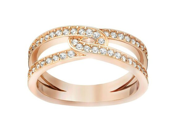 Swarovski Creativity ring mounted on rose gold-plated with crystals