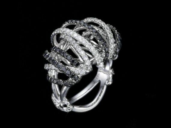 Yanush Ring mounted on white gold with diamonds