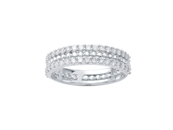 Vanessa Tugendhaft Princess ring mounted on white gold with diamonds