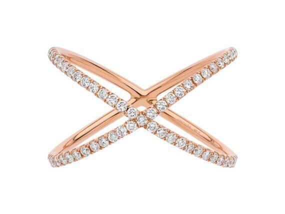 Vanrycke Physalis ring mounted on rose gold with diamonds