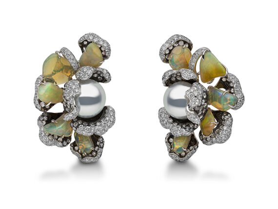 Yoko London Feronia earrings mounted on black and white gold with south sea pearls, diamonds and opals