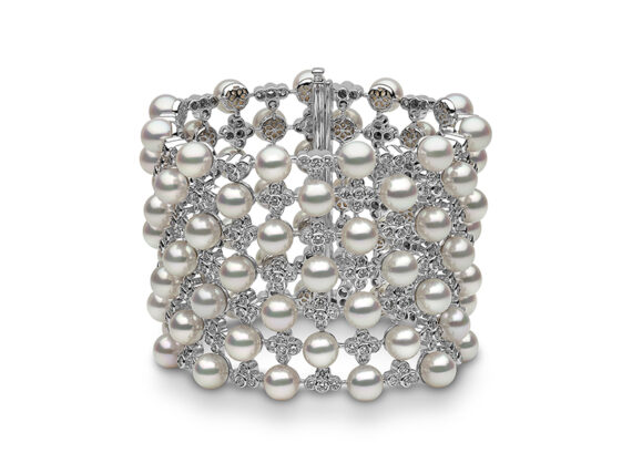 Yoko London Mayfair cuff mounted on white gold with white diamonds and akoya pearls