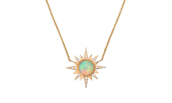 Jenny Dee Jewelry Ethiopian Opal Electra Necklace mounted on 18ct rose gold with Ethiopian Opal and white diamonds