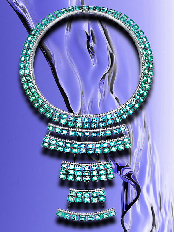 akillis guarani tribal necklace mounted on white gold with white diamond and Paraiba