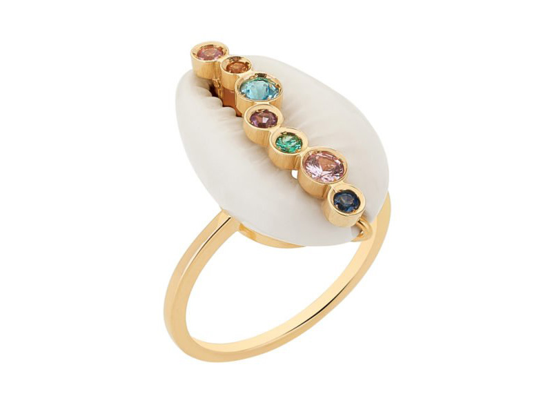 "Aron & Hirschi ""Hamar Em Ouro"" ring mounted on 18ct set with sapphires. Sea Shell jewelry"