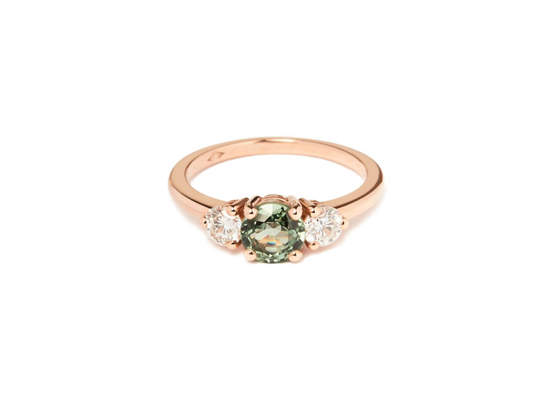 Pérouse Paris Bahia ring mounted on rose gold set with green sapphire and white diamonds