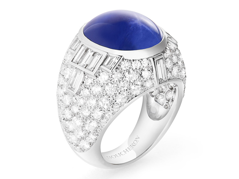 Boucheron Star Sapphire ring with diamonds