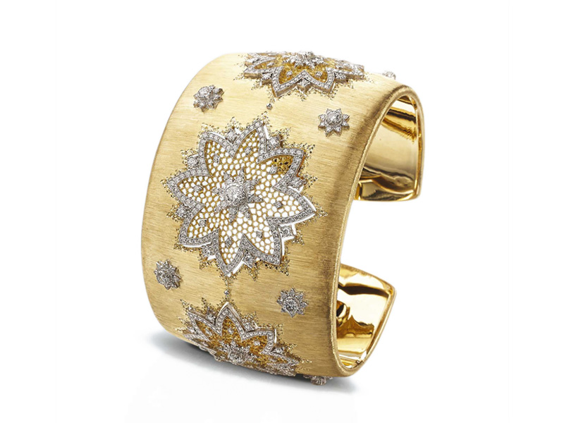 Buccellati - Morgana cuff mounted on yellow and white gold set with diamonds
