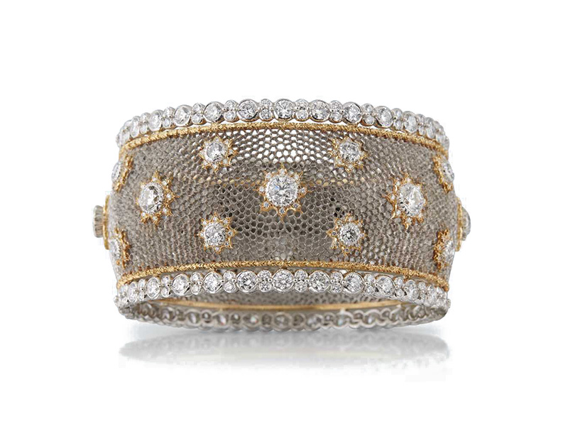 Buccellati Volta Celeste bracelet mounted on white and yellow gold set with 384 diamonds