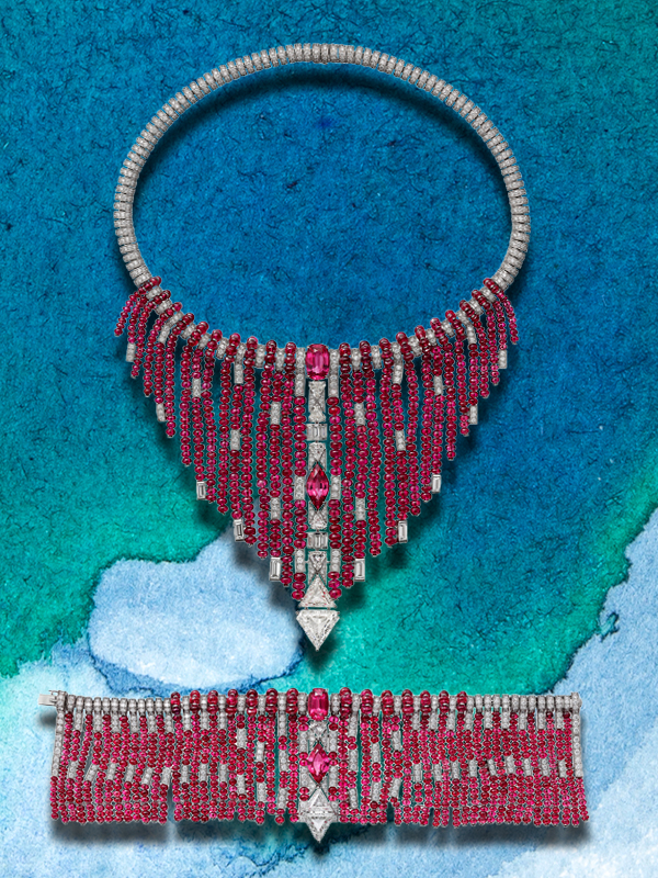 Cartier Coloratura necklace and bracelet mounted on white gold with diamonds and rubies beads