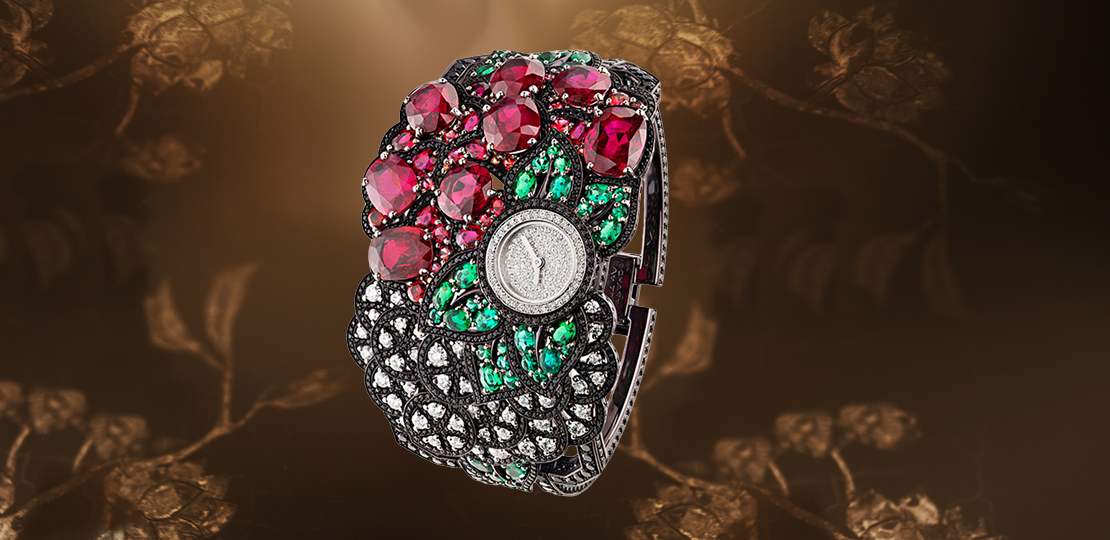 Chanel - Florale Watch from the Coromandel collection set with rubies emeralds and diamonds