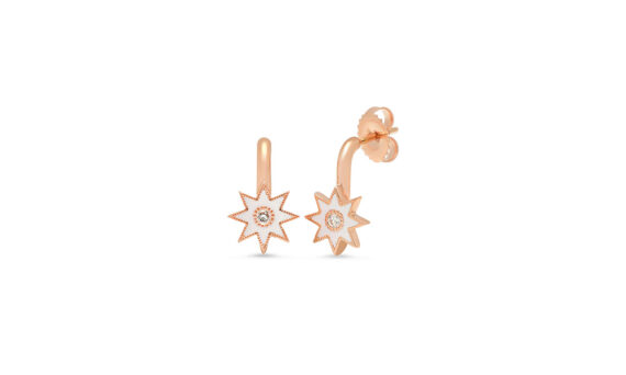 Colette Jewelry 18kt Gold Star Earrings mounted on rose gold