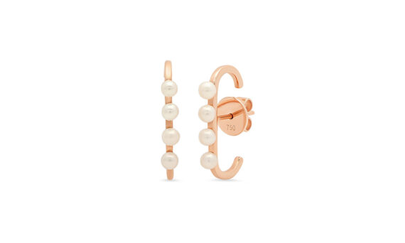 Colette Jewelry 1D Lobe cuffs mounted on 18ct rose gold with pearls