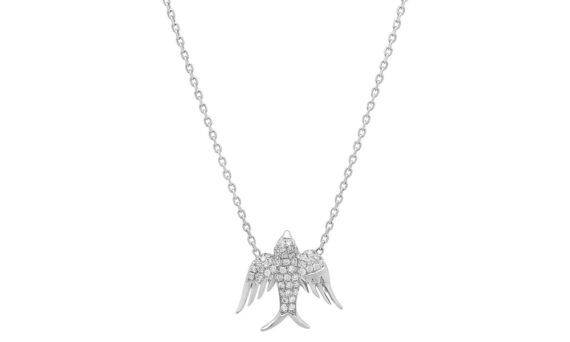 Colette Jewelry Bird pendant mounted on white gold with white diamonds