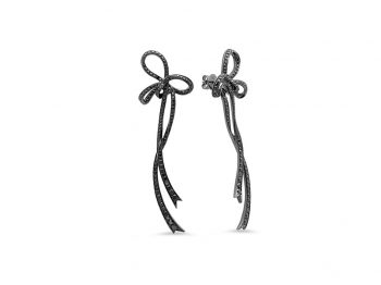 Black Diamond Bow Earring