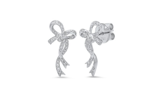 Colette Jewelry Bow earrings mounted on 18ct white gold with diamonds