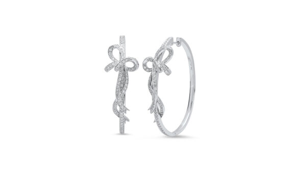 Colette Jewelry Bow Hoop Earrings mounted on white gold with grey diamonds