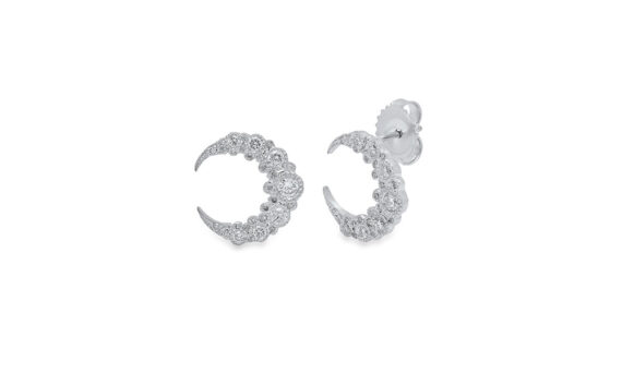 Colette Jewelry Crescent Huggies mounted on white gold with diamonds