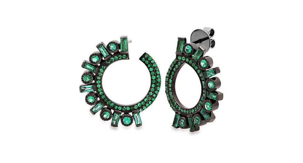 Emerald Huggie Earrings