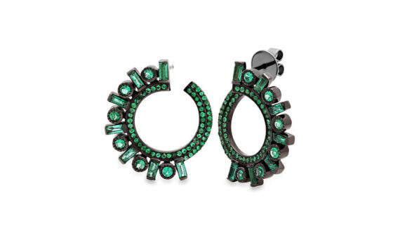 Colette Jewelry Emerald Huggie Earrings mounted on black gold with emeralds