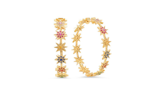 Colette Jewelry Star Hoops mounted on yellow gold with sapphires