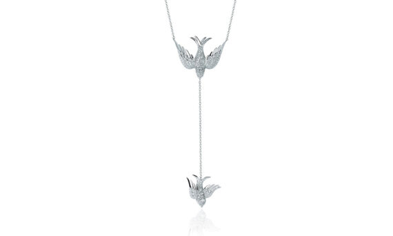 Colette Jewelry Van Necklace mounted on 18ct white gold with diamonds