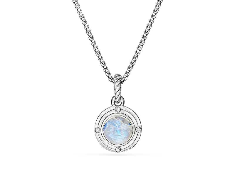 David Yurman Moon Amulet in Rainbow Moonstone with Diamonds