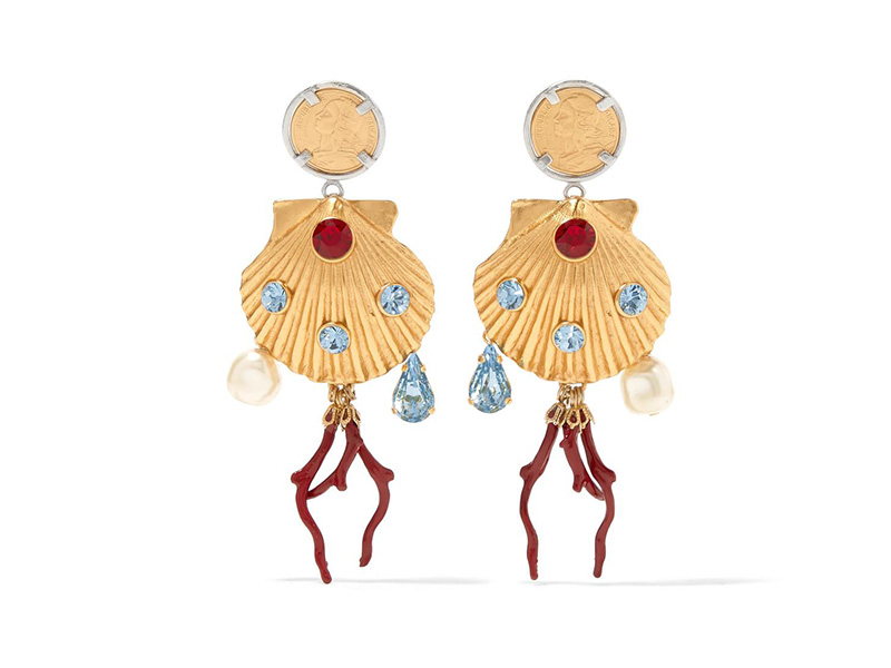 Dolce & Gabbana Gold-plated shells earrings with red enamel coral, colorful crystals and faux pearls