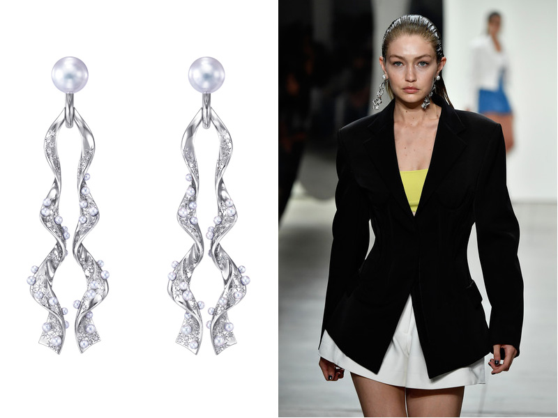 Tasaki x Prabal Gurung - Gigi Hadid wearing the Cascade earrings from the Surrealism collection, mounted on white gold with akoya pearls and South sea pearls