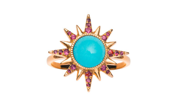 Jenny Dee Jewelry Turquoise Electra Maxima Ring 18ct rose gold rubies