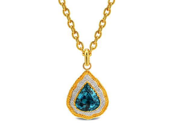 Victor Velyan Pendant mounted on gold with Pear Shape Blue Zircon & Diamonds