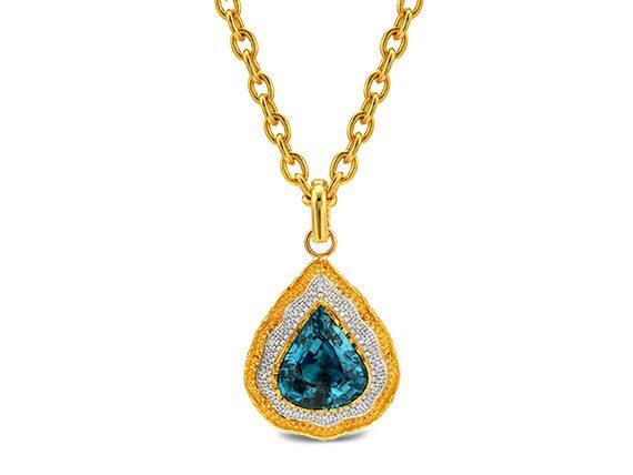 Victor Velyan Pendant mounted on gold with Pear Shape Blue Zircon & Diamonds