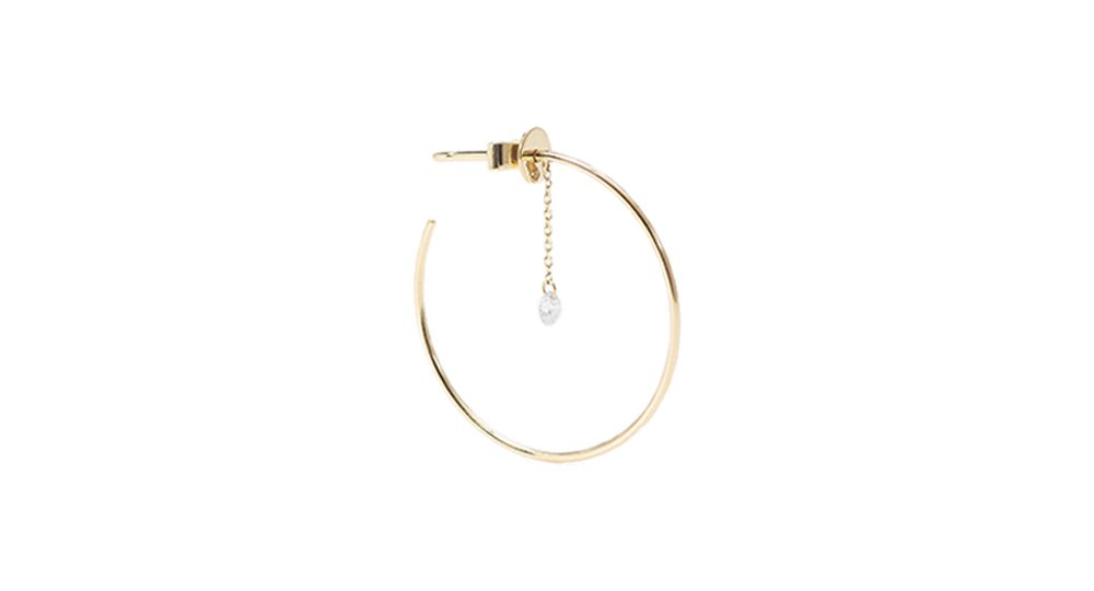 Géométrique one diamond chain hoops