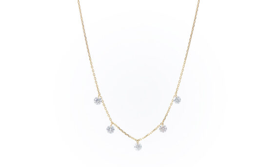 Persée Paris Danaé five diamonds necklace mounted on 18ct yellow gold