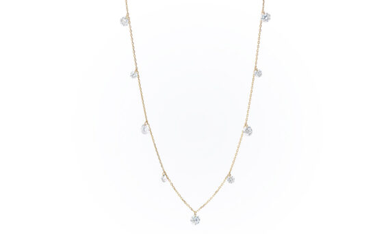 Persée Paris Danaé nine diamonds necklace mounted on 18ct yellow gold