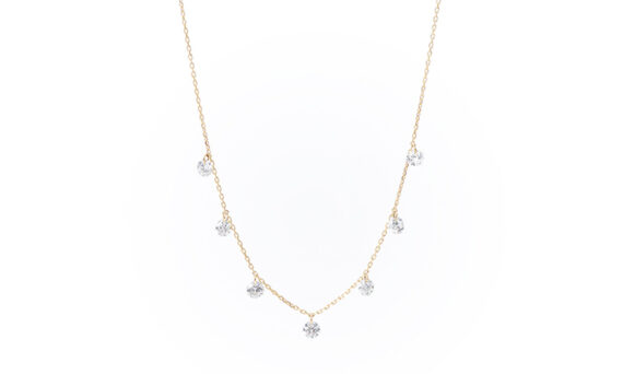 Persée Paris Danaé seven diamonds necklace mounted on 18ct yellow gold