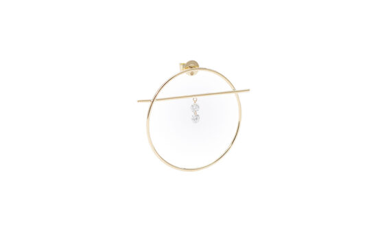 Persée Paris Fibule two diamonds mounted on 18ct yellow gold with two diamonds