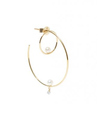 Persée Paris Gaia earrings mounted on 18ct yellow gold with diamonds and one pearl