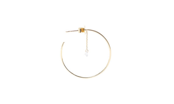 Persée Paris Géométrique one diamond chain hoop mounted on 18ct yellow gold